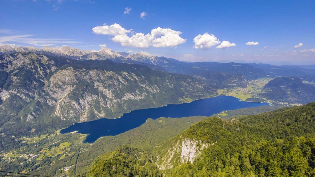 trekking above lake bohinj